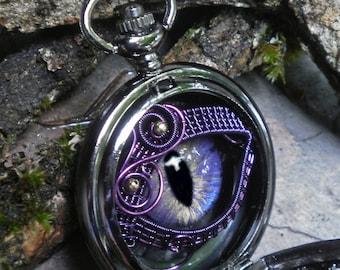 Gothic Steampunk Black Pocket Watch with Blue Lavender Eye