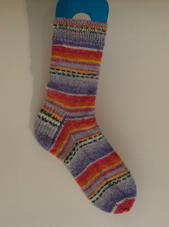 Handknitted Socks in Peach and Purple