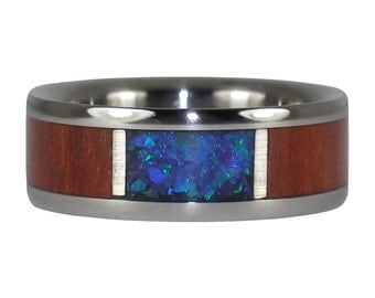 Blood Wood and Black Lab Opal Ring