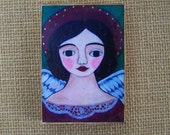 Angel Print painting Woodblock encaustic print Shabby Folk art Angel 3.5' x 5""