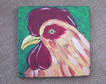 Rooster Chicken painting Shabby Rustic Folk Art Painting Original FREE SHIPPING