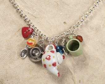 SALE: Teapot Necklace - charm cluster necklace with teapots, teacups and teaspoons