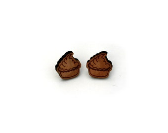Cup cake Earrings, Wooden Cake Stud Earrings
