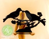 Oiseau de gâteau, LOVE BIRDS souvenir Topper, Couple d'oiseau noir, oiseau paire * Original Design *