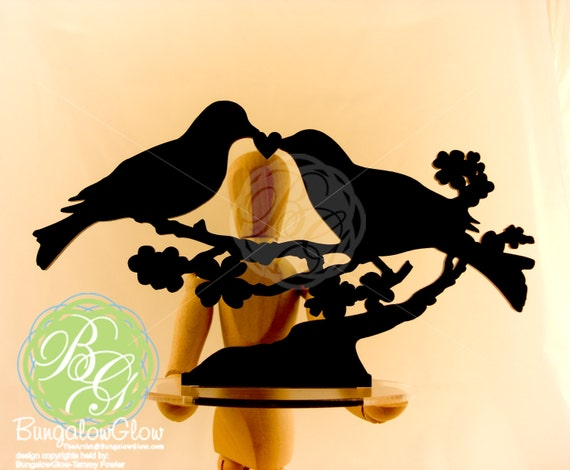 Bird Cake Topper, LOVE BIRDS Keepsake Topper, Black Bird Couple, Bird Pair *Original Design*
