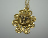 Sun Face Necklace One of a Kind Artisan Jewelry Repurposed Gold Filigree Charm with Golden Brass Moon Sun Face Gold Chain You Choose Length