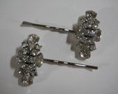 Vintage Rhinestone Bobby Pins 1950's Hair Accessory Sparkly Glass Weiss Bridal Vintage Unique Bride Wedding