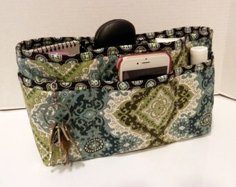 Quilted Purse Organizer Insert With Enclosed Bottom Large - Brown, Teal, and Sage Green Print