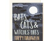 Bats Cats & Witches Hats Halloween Illustrated Card//1canoe2