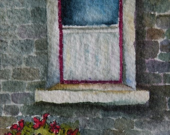 Artist Trading Card Art Card Watercolor of Irish Window ACEO Original Watercolor Original Art