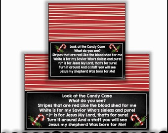 Candy Cane Legend Chalkboard Bag Toppers