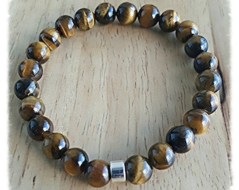 stone bracelet men, tigers eye bracelet, boho jewelry, gift dad, gift for him, husband gift, mala beads bracelet, healing bracelet, yoga