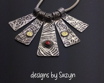 Pendant, silver, All That Jingles - Sterling and Fine Silver Textured Multi Piece Necklace