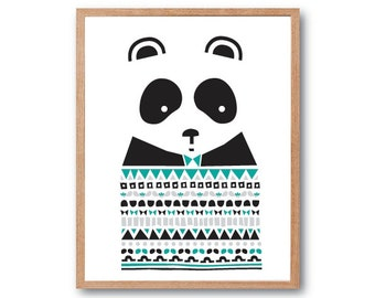 Children Room decor, Panda Sweater Art Print, Panda gifts, Panda illustration, animal Illustration, Geometric print, Kids room art