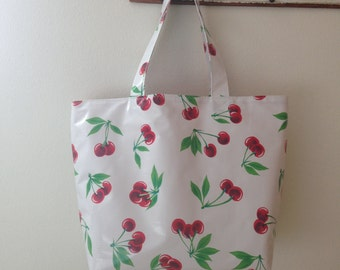 Beth's Big Red Cherries Oilcloth Market Tote Bag