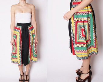 50s Festive Geometric Print Skirt - Cotton Kitsch Novelty