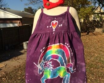 Purple Rainbow Unicorn Size 2 Toddler  Batik Dress