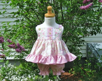 Baby girl dress set, bloomers, pink flowers, size 6 Mo, pinafore, Easter, baby gift, ready to ship, sundress, party dress, baby shower, OOAK
