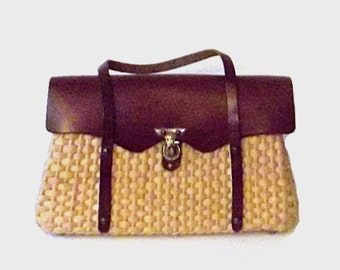 1960s purse / vintage 60s handbag / leather / Sunday Brunch Wicker Purse