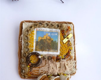 Fiber art pin, TRAKOSCAN, marked down 50%, hand stitched, Croatian stamp, mixed media, bohemian, eco-friendly