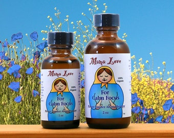 Calm Focus, Attention, Grounding, Concentration, Organic Flower Essence Aromatherapy, Bach Flowers, Reiki-Infused Bath, Body, Massage Oil