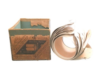 1870s Celluloid Mens Cuffs, Disposable Vintage Fashion, Original Box, Very Rare Victorian Shirt Cuff Set
