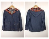 Vintage 70s 80s Denim Jacket with Plaid Flannel / Sz Medium