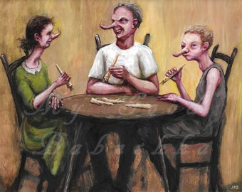 The Horseradish Dinner Curled Their Noses, Original Painting, Surreal, Horseradish Root, Dinner Table, Meal, Surreal, Armoracia Rusticana