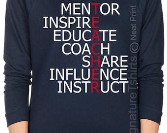 Teacher Off the shoulder Womens shirt gift for Teacher Shirt Christmas Gift Raglan Raw Edge sweater Mentor Inspire Educate Coach Instruct