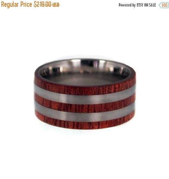 Holiday Sale 10% Off Bloodwood Pinstripes, Titanium Pinstripes, Blood Wood Band, Ring Armor Included