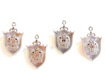 4 or 2 Pairs of Silver-tone Shield-shaped Double-sided Crown Crest Charms