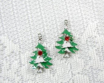 Pair of Christmas Tree Charms Green and White Epoxy Red Rhinestone