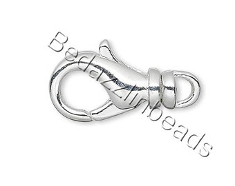 10 Silver Plated 14mm Long Lobster Claw Trigger Clasps With Swivel for Jewelry
