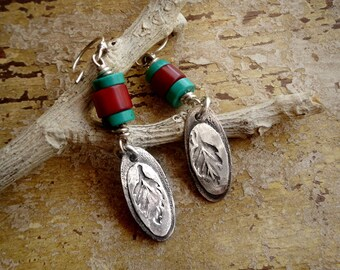 Embossed Leaves and Textured Sterling Silver Earrings Turquoise & Red Coral . Rustic Tribal Southwestern Wabi Sabi Organic Boho Jewelry