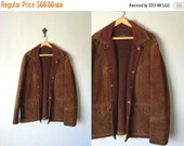 40% OFF ENTIRE SHOP Vintage Joo Kay Jacket •1970s Leather Coat • DarkBrown Suede Leather Faux Fur Lined • 1960s Western Wear Classic • Men
