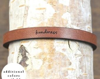 kindness - adjustable leather bracelet  (additional colors available)