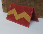 Red Leather Business Card Holder with Chevron Design By Binding Bee