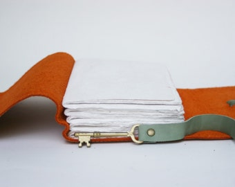 Orange Leather Journal with Antique Skeleton Key Closure by Binding Bee