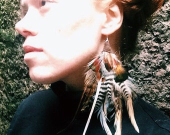 Long + Natural Feather Earrings. Wood Witch. One of kind. SALE