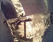 Renaissance corset top in black and silvergrey,eyelets and boning.