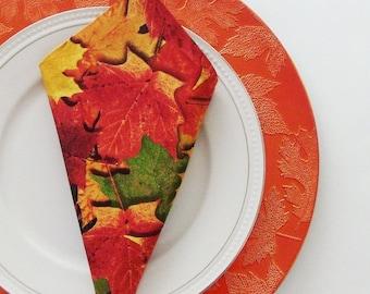 Autumn Splendor Napkins / Red, Orange, Gold, Green Leaves / Autumn - Fall Season - Thanksgiving Table Decor / Set of 4 / Gift Under 50