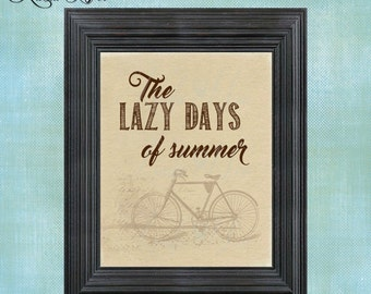 PRINTED Wall Decor ~ Lazy Days of Summer Bicycle ~ Summer Print ~ Beach Print ~ Summer ~ Beach Lover ~ Flip Flops ~ Seaside ~ Ocean ~ PH0024