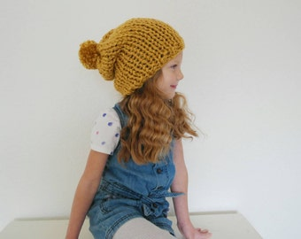 Children's Slouchy Hat with Pom Pom Hand Knitted in Mustard Fall and Winter Fashion Accessory