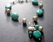 Turquoise Bracelet, Turquoise and Sterling Silver Bracelet, Southwest Bracelet, Wire Wrapped Turquoise Bracelet