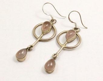 Vintage Rose Quartz Earrings, Sterling Silver, Art Deco Style
