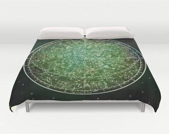 ZODIAC Map Duvet Cover, Vintage Map Bedding, Green Map Bedspread, Decorative, Unique, Comforter Cover, Ancient Zodiac Map Decor,Space Decor