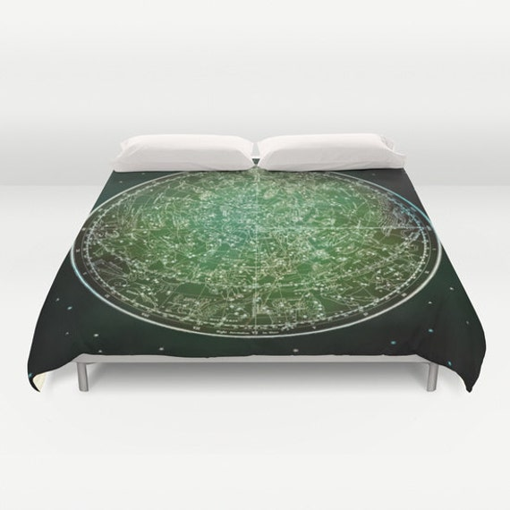 ZODIAC Map Duvet Cover, Vintage Map Bedding, Green Map Bedspread, Decorative, Unique, Comforter Cover, Ancient Zodiac Map Decor,Space Decor