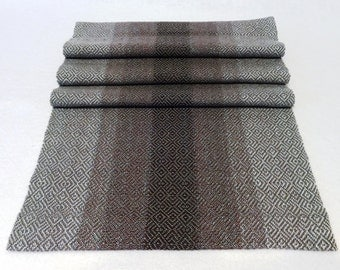 Handwoven Table Runner - Dresser Scarf - Grey Table Runner, Purple Table Runner, Handwoven Dresser Scarf
