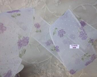 4 yds LAVENDER WHITE Flower Polka Dot Vine Organza Ribbon Trim Baby Sewing Scrapbooking Card Making