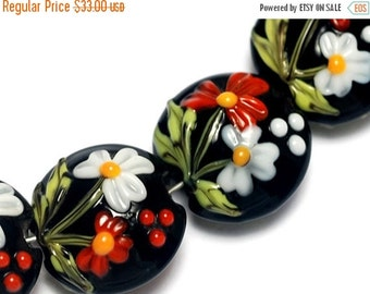 ON SALE 50% OFF Handmade Glass Lampwork Bead - Four Maria's Bouquet Lentil Beads 10205012